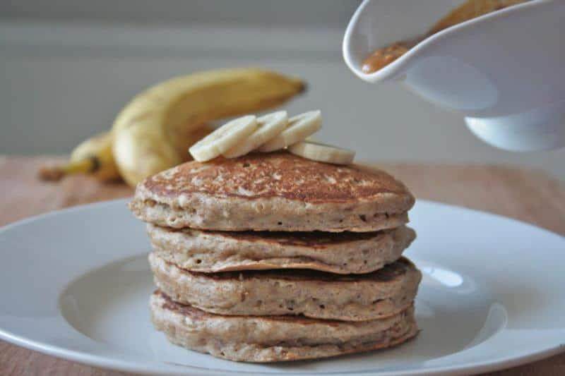 Whole Wheat Banana Nut Oat Pancakes