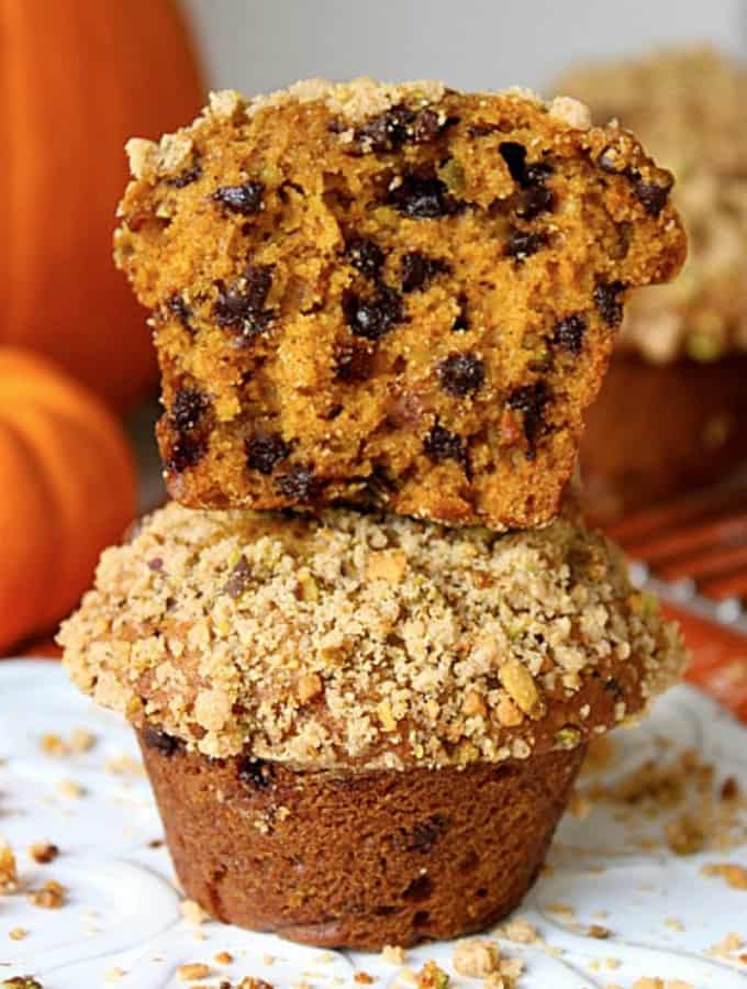 Pumpkin Pistachio Chocolate Chip Muffins
