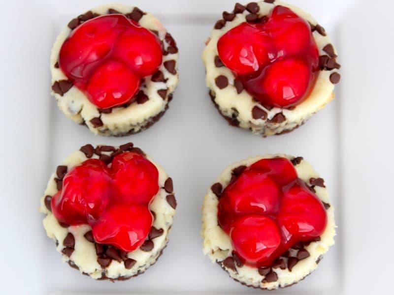 Mini Cherry Chocolate Chip Cheesecakes