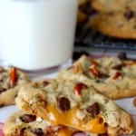 Caramel-Stuffed Chocolate Chip Pretzel Cookies