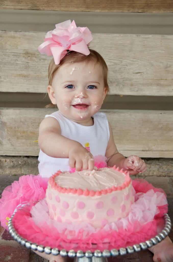First Birthday Smash Cake {banana cake with marshmallow creme frosting}