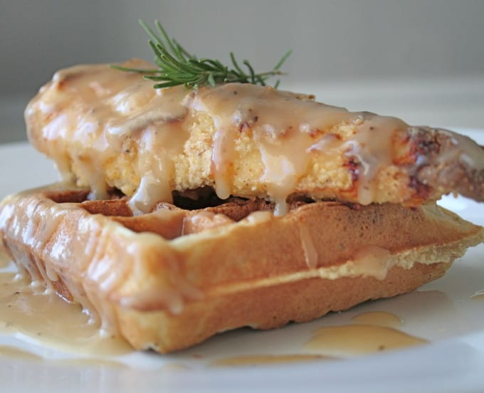OVEN-FRIED CHICKEN & WAFFLES WITH MAPLE GRAVY