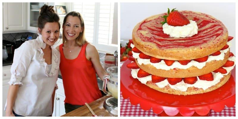 Strawberries and Cream Swirl Cake