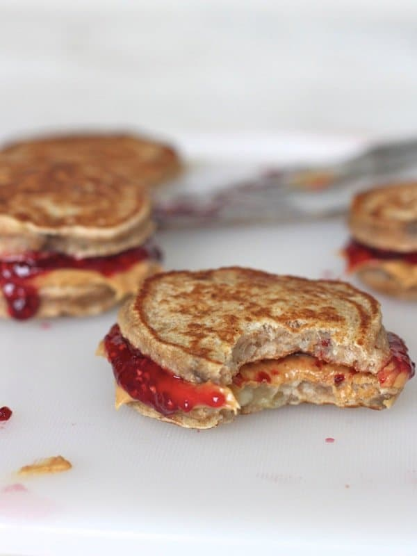 Peanut Butter and Jelly Banana Pancake Sandwiches