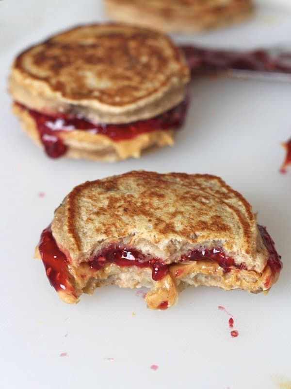 Peanut Butter And Jelly Banana Pancake Sandwiches The Bakermama