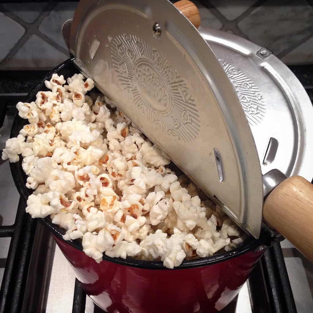 Truffle Salt Popcorn in the Whirley Pop