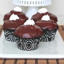 Dark Chocolate Cream Filled Cupcakes