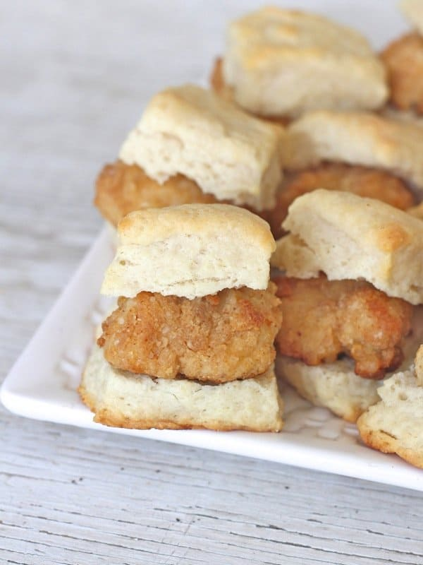 Oven-Fried Mini Chicken Biscuits | The BakerMama