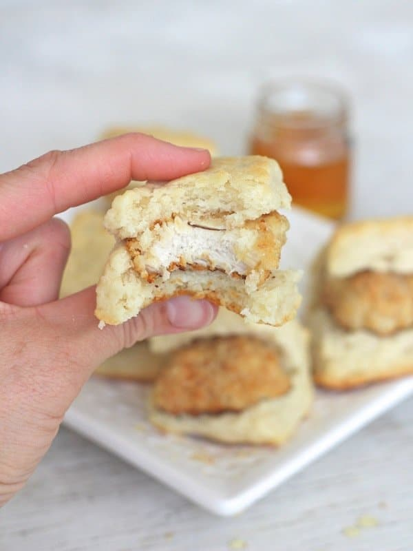 Oven Fried Mini Chicken Biscuits