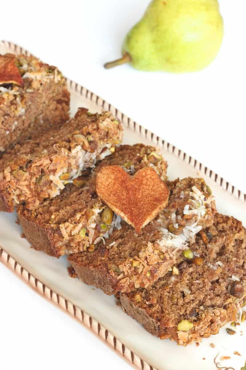 Pear Pistachio Coconut Bread | The BakerMama