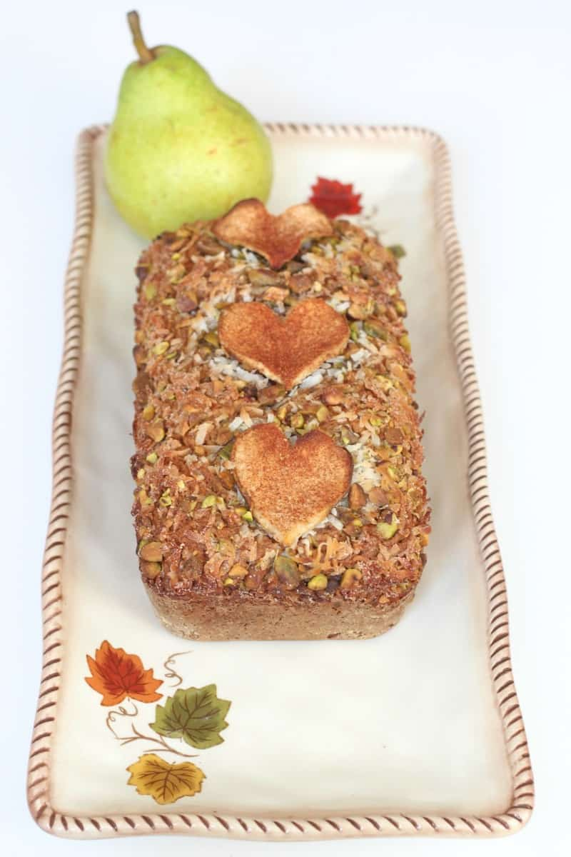 Pear Pistachio Coconut Bread | The BakerMama