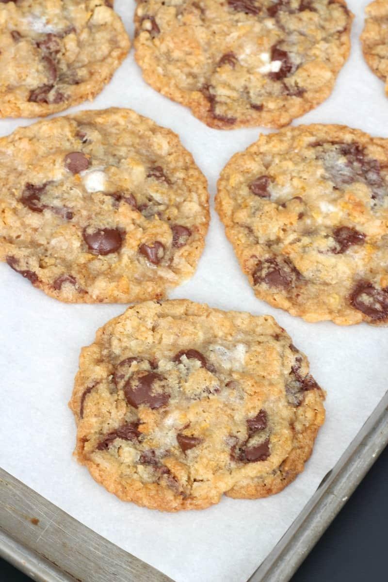 Corn Flake Coconut Chocolate Chip Cookies | The BakerMama