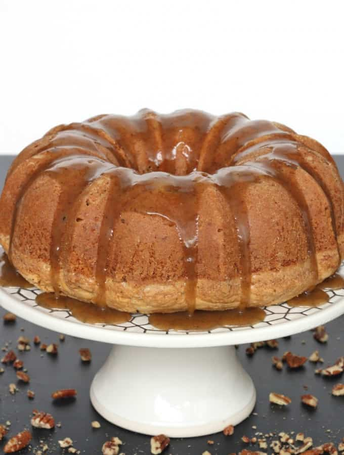 Brown Butter Pecan Pound Cake with Brown Butter Caramel Sauce