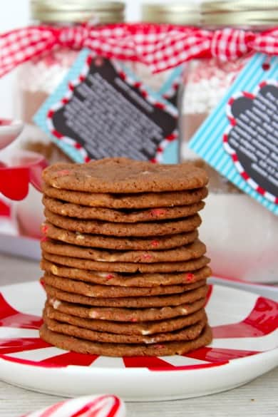 Peppermint Hot Cocoa Cookies in a Jar