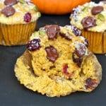Pumpkin Cranberry Dark Chocolate Muffins