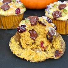 Pumpkin Cranberry Dark Chocolate Muffins
