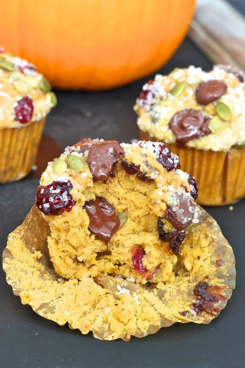 Pumpkin Cranberry Dark Chocolate Chip Muffins