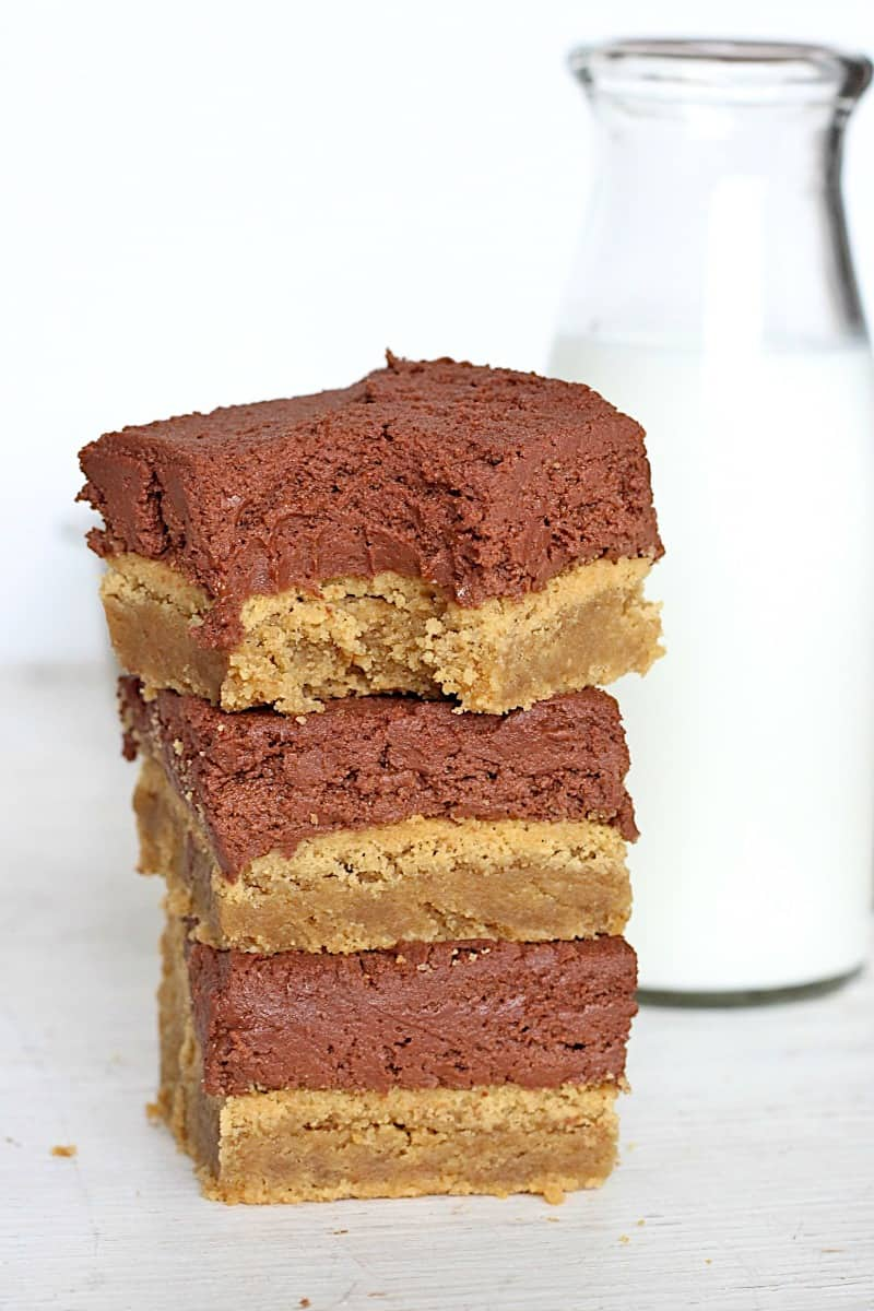 Brownie Batter Frosted Peanut Butter Bars