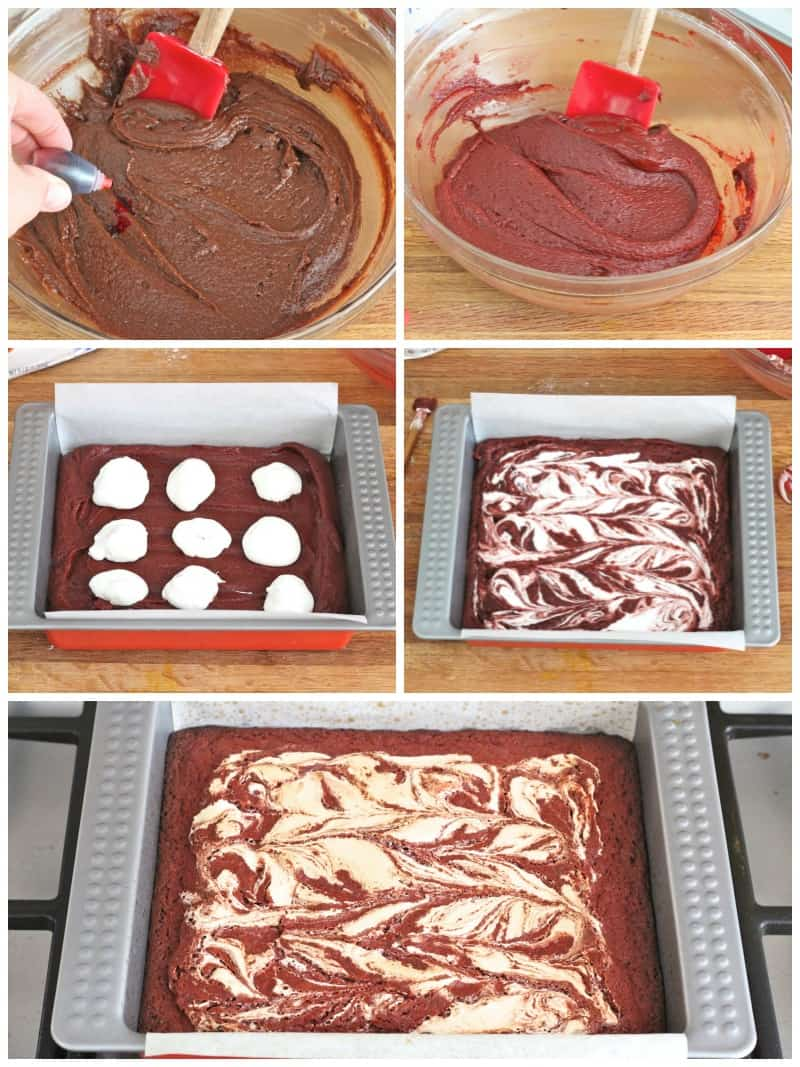 Marshmallow Swirled Red Velvet Brownies
