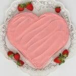Fresh Strawberry Heart Cake