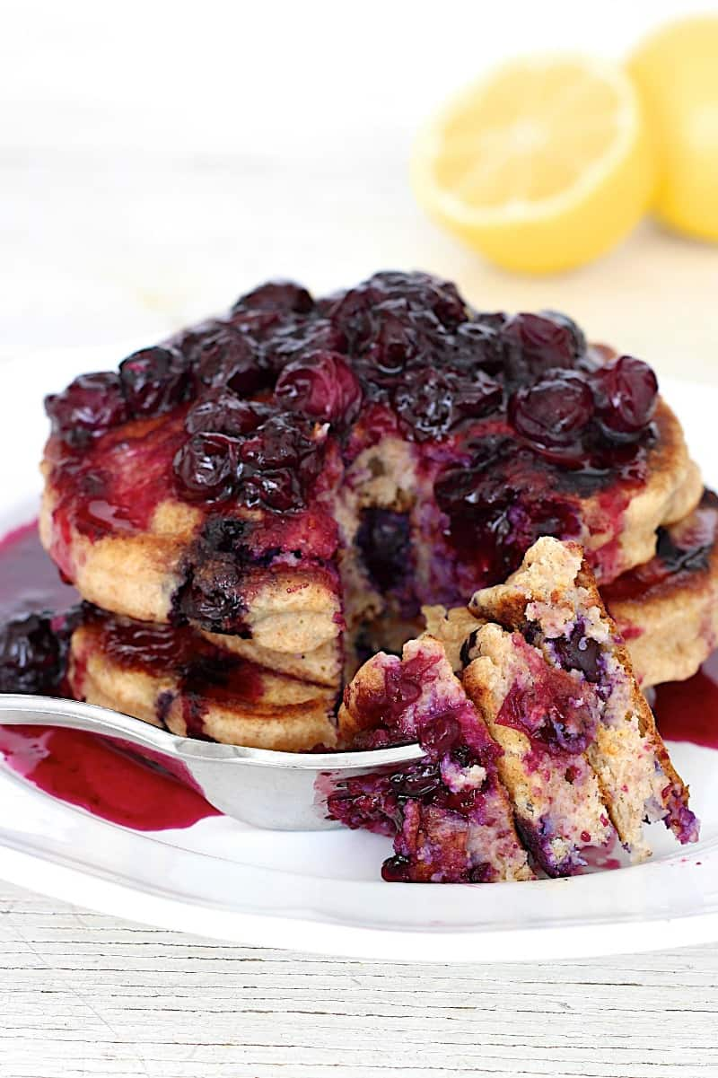 Whole Wheat Blueberry Lemon Ricotta Pancakes