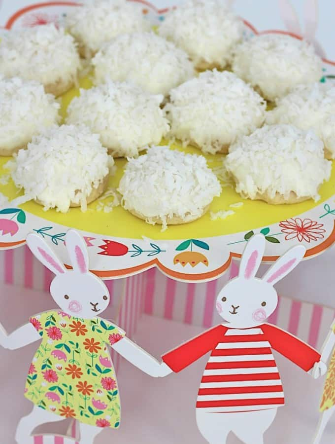 "White Chocolate Dipped Coconut ""Bunny Tail"" Cookies"