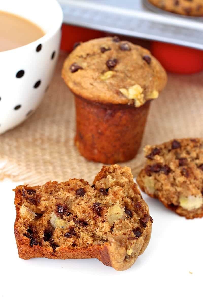 Whole Wheat Peanut Butter Banana Chocolate Chip Muffins