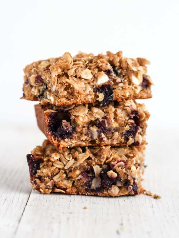 Brown Butter Blueberry White Chocolate Oat Bars