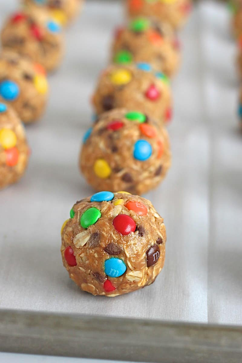 No-Bake Monster Cookie Balls - a sweet bite-sized treat that's easy to make and tastes just like everyone's favorite monster cookie!