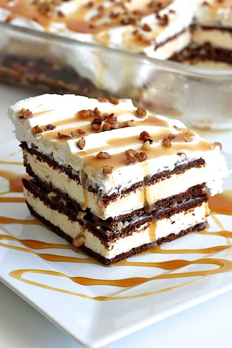 Caramel Pecan Ice Cream Sandwich Cake The BakerMama