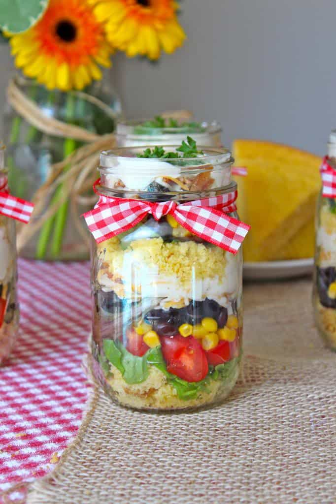 Cornbread Salad that can be layered in individual jars or a big serving bowl. Party perfect!