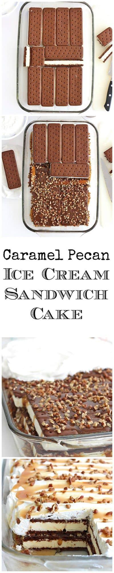Caramel Pecan Ice Cream Sandwich Cake