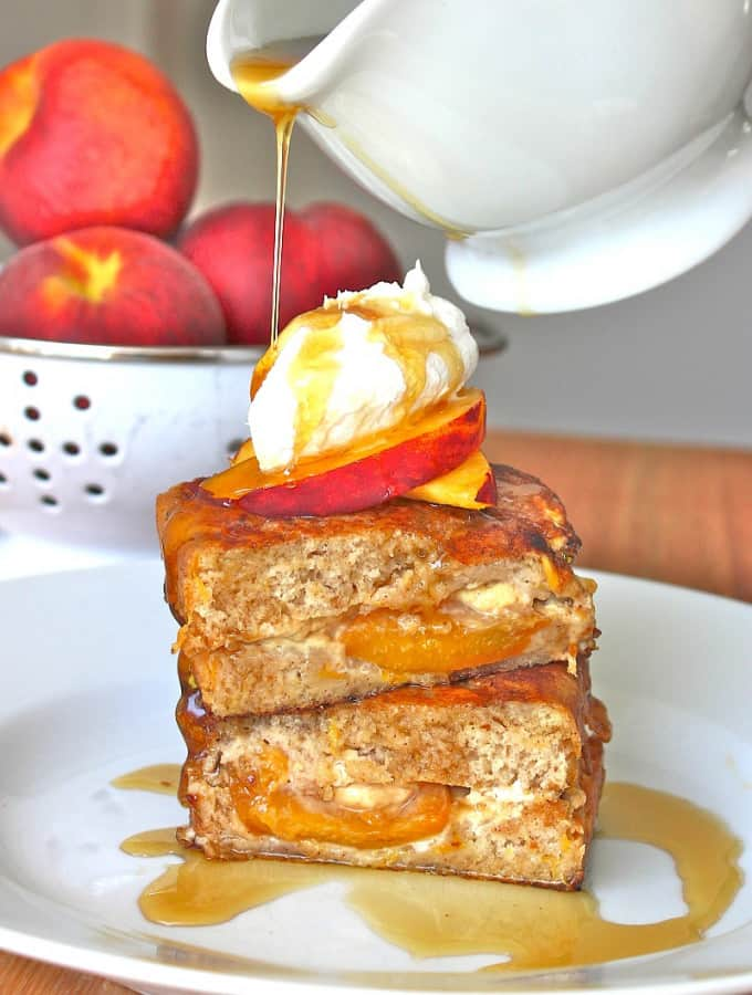 Stuffed Peach Bread French Toast