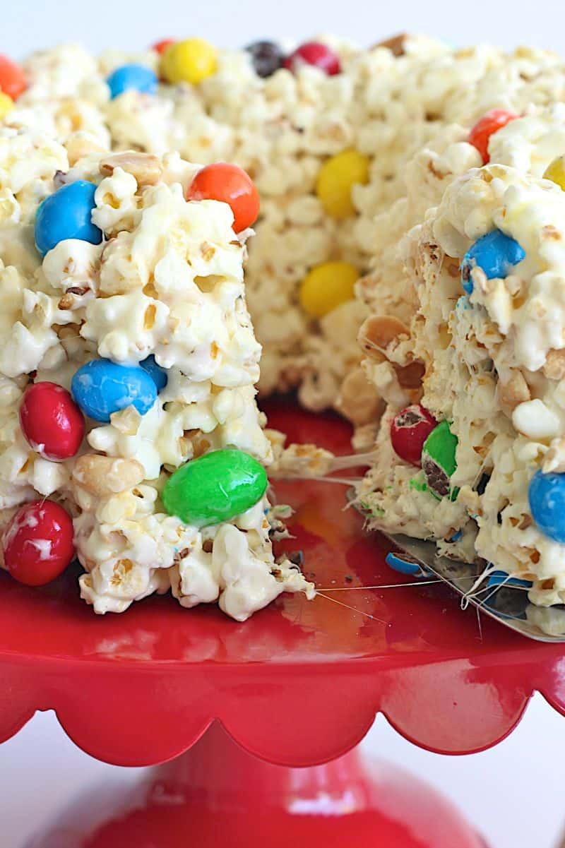 Peanut Popcorn Cake - a party perfect cake that's chewy, gooey and full of sweet and salty crunch.