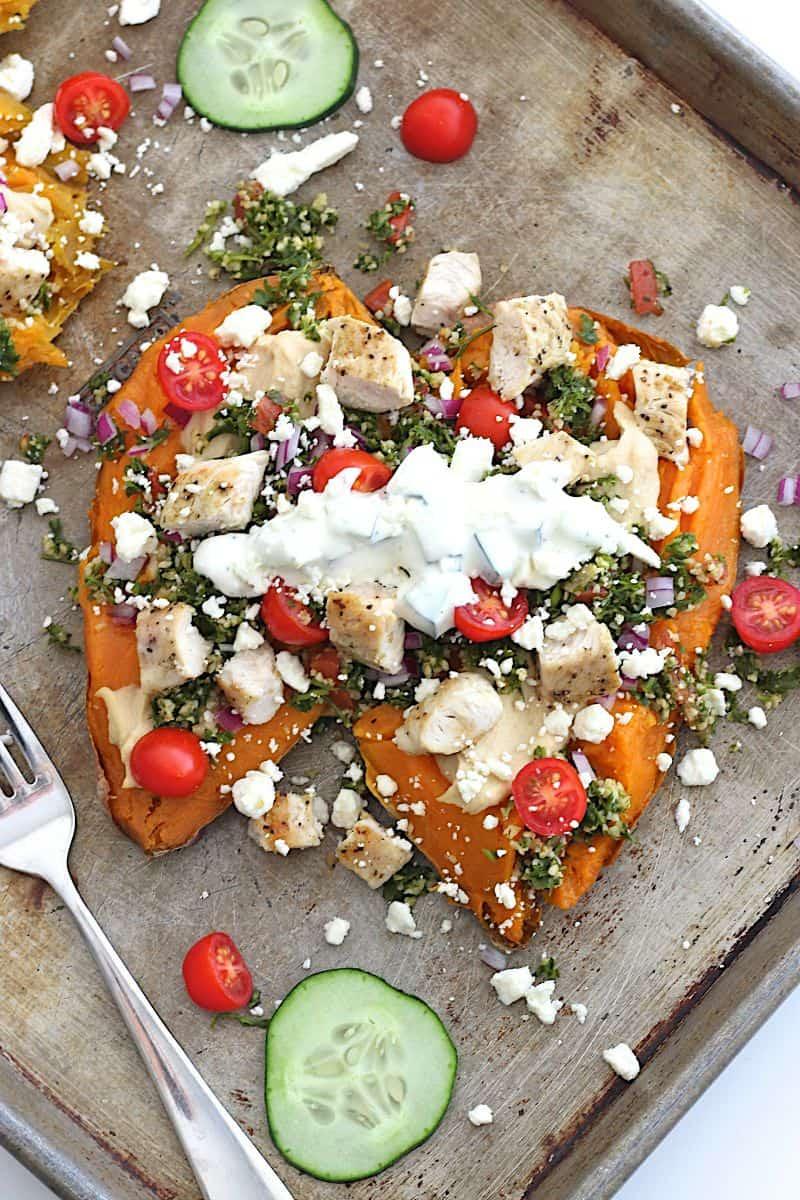 Greek Loaded Sweet Potatoes