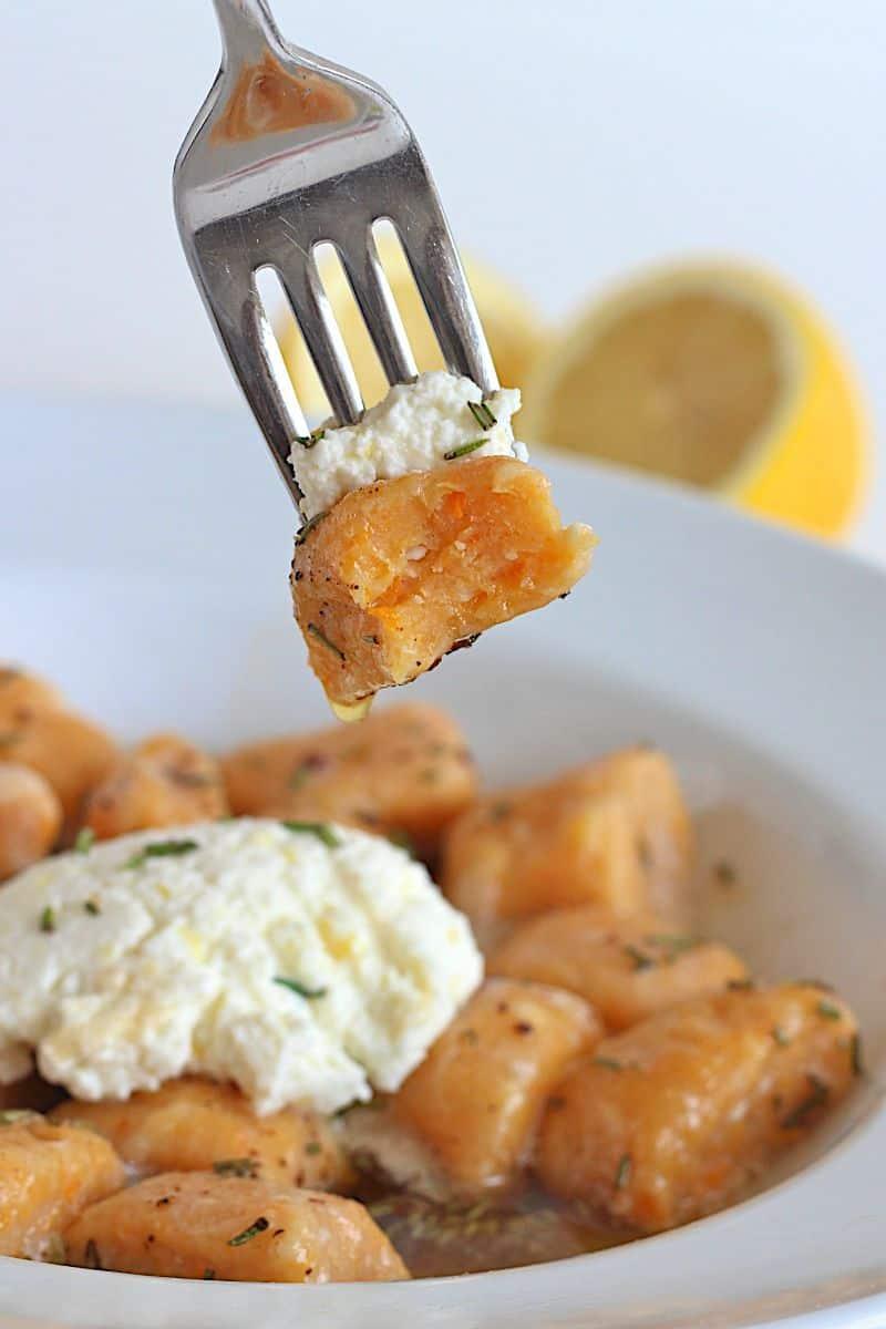 Sweet Potato Ricotta Gnocchi with Garlic Brown Butter Herb Sauce