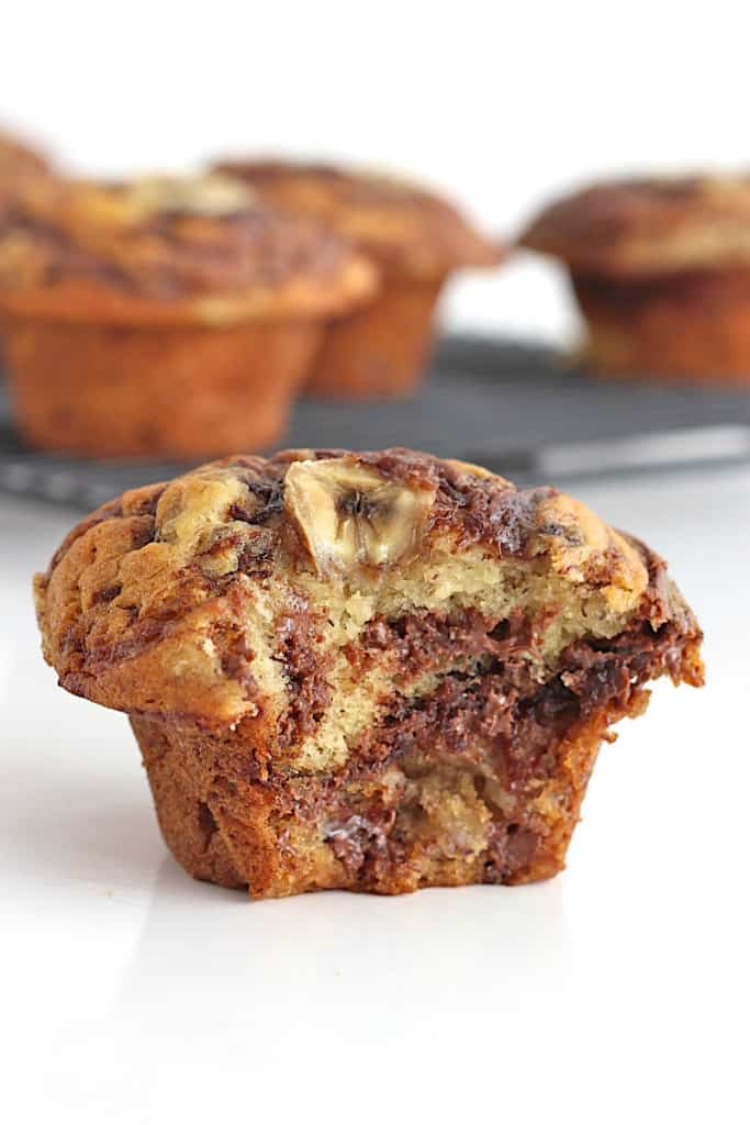 Nutella Swirled Banana Muffins The Bakermama