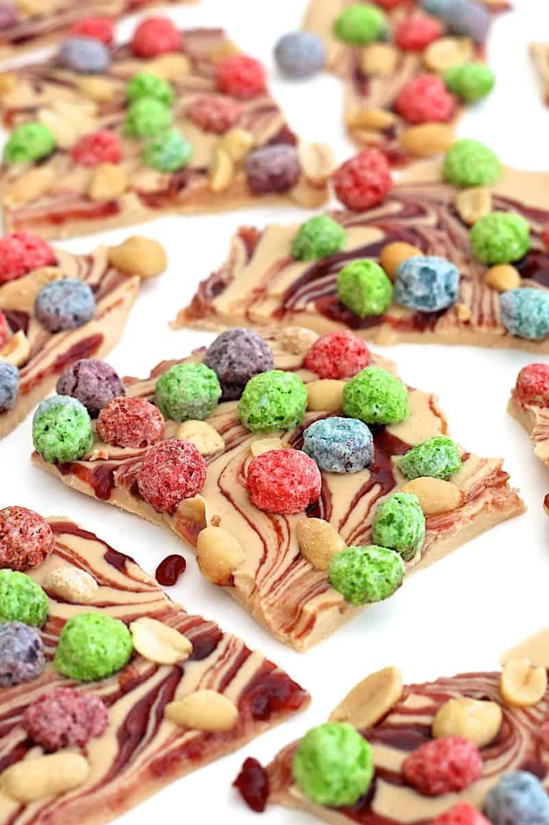 Peanut Butter Berry Bunch Crunch Bark