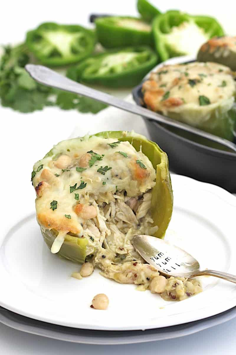 Easy Cheesy White Chicken Chili Stuffed Peppers