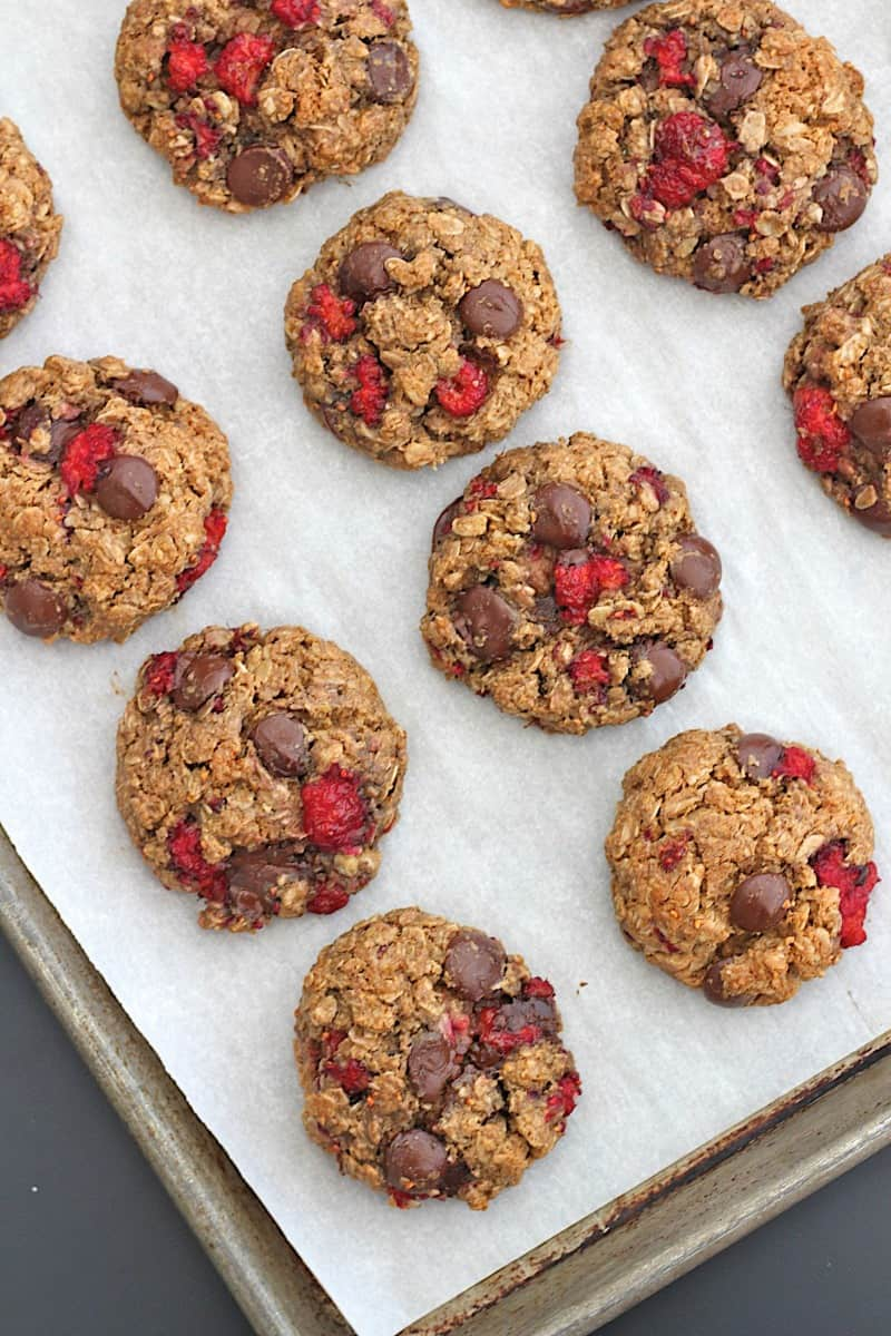 Flourless Dark Chocolate Raspberry Almond Butter Oatmeal Cookies