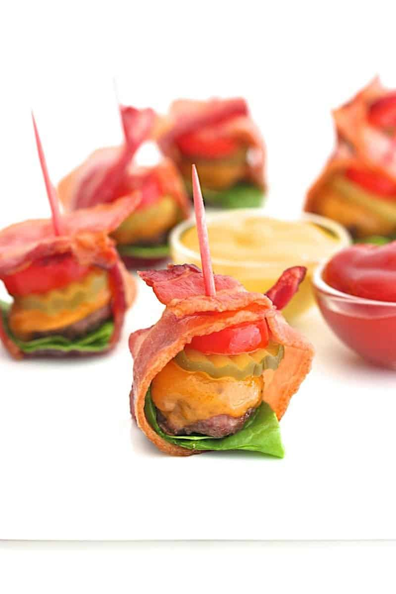 Bacon-Wrapped Cheeseburger Bites