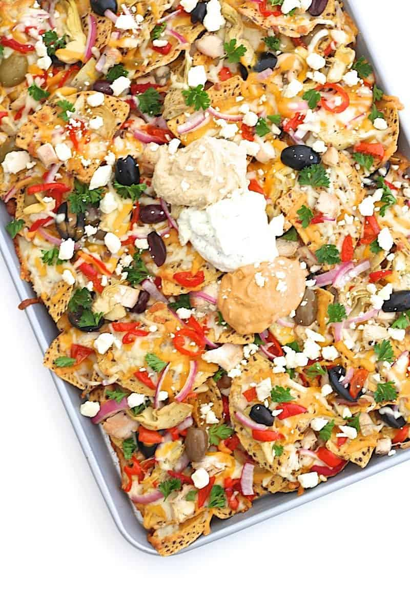 Mediterranean nachos the weeknight dinner cookbook the bakermama mediterranean chicken nachos forumfinder Choice Image