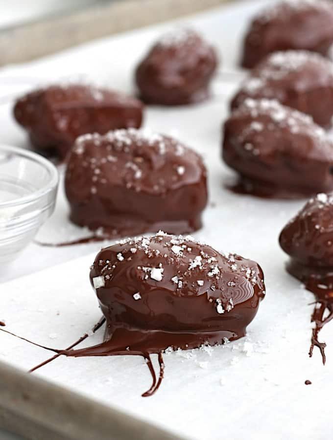 Dark Chocolate Covered Peanut Butter Stuffed Dates with Sea Salt {Texas Peanut Tour Recap}