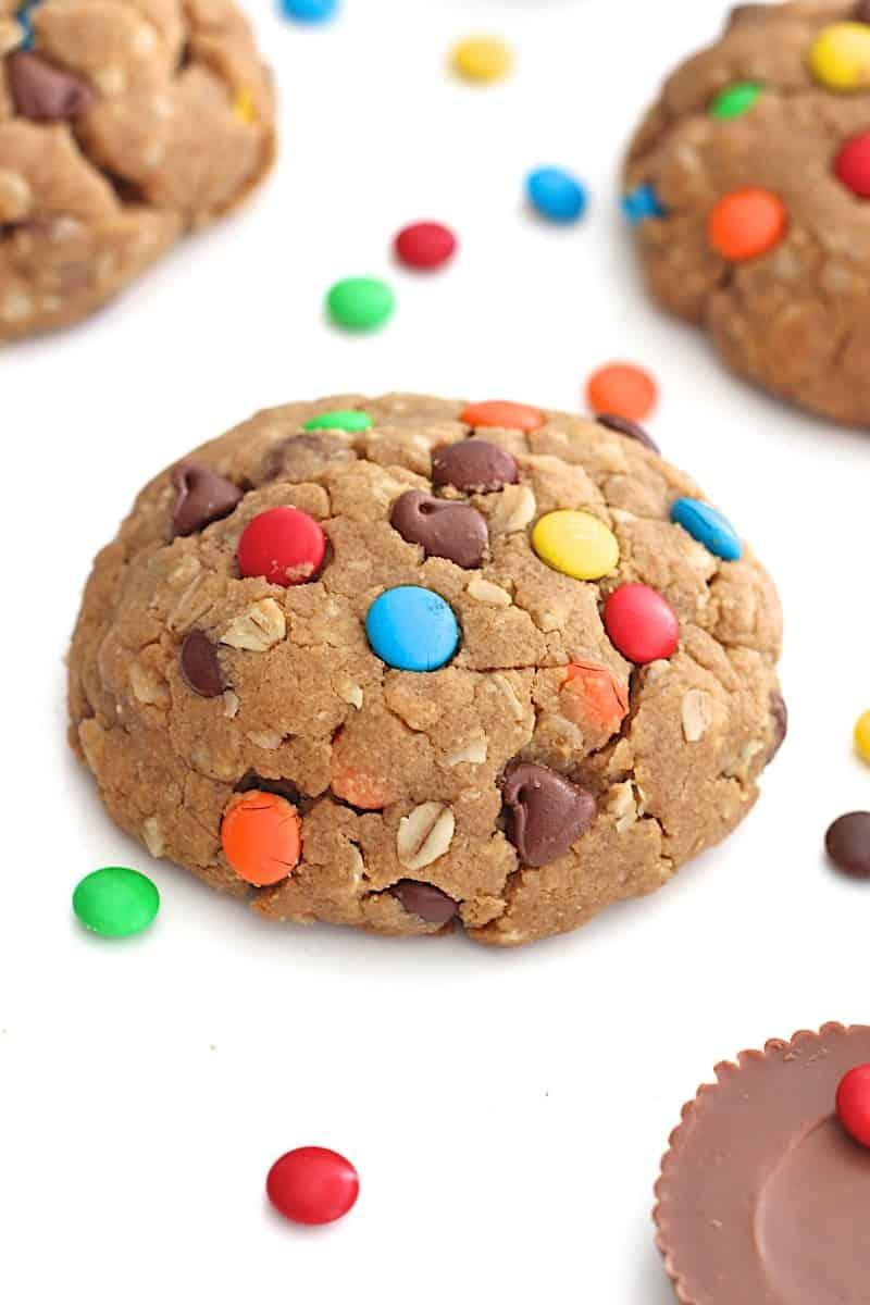 Peanut Butter Cup Stuffed Monster Cookies