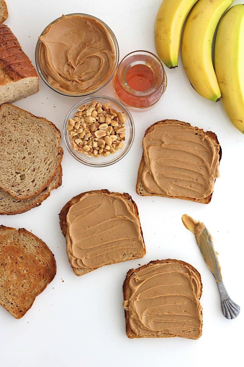 Caramelized Banana Peanut Butter Toast {with honey + crushed peanuts}