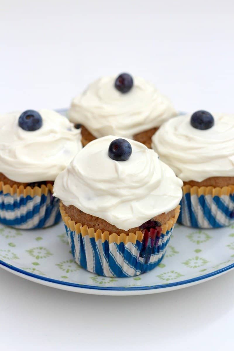 Healthy Whole Wheat Blueberry Breakfast Cupcakes | The BakerMama