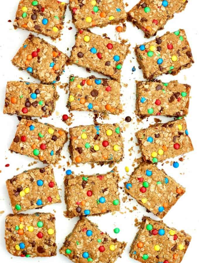 Flourless Monster Cookie Bars