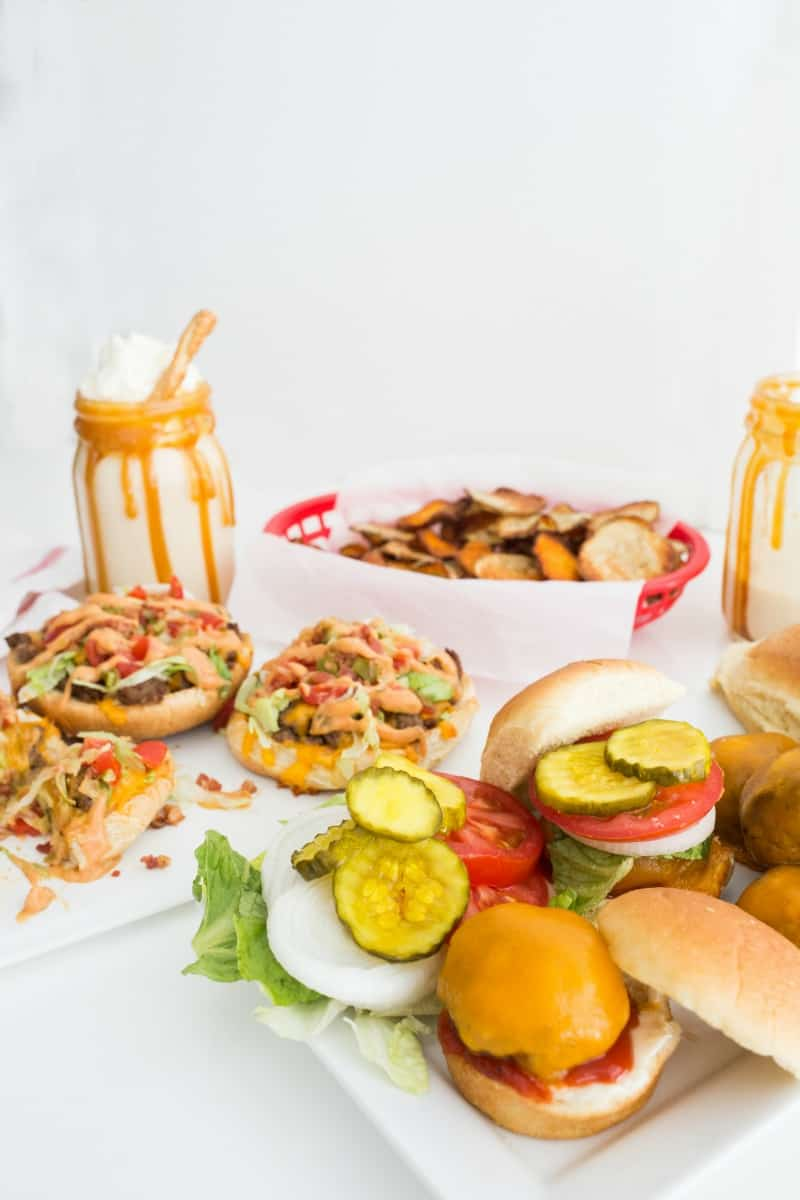 Burger Night, Done Right! - Skillet Sliders, Cheeseburger Bun Pizzas, Baked Sweet & Salty Potato Chips and Salted Caramel Pretzel Milkshakes, oh my!