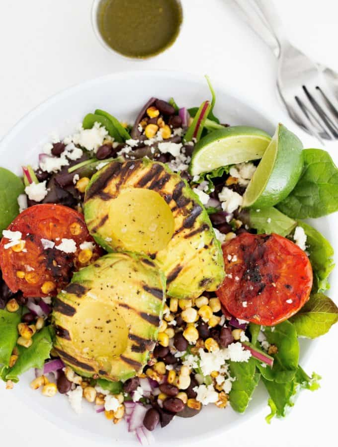 Grilled Avocado and Tomato Salad