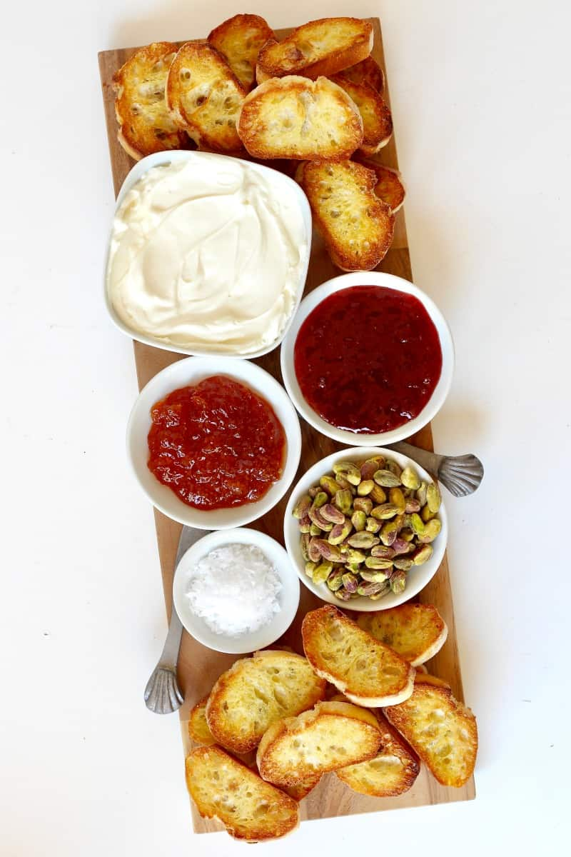 Labneh Toast Board with Jam, Pistachios and Sea Salt